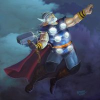 thor lightning clouds hero by donpaking