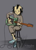 Noodle plays on a guitar by iricolor