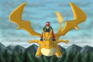 Commission:Flying On Charizard by eclipse4d