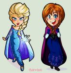 Elsa and Anna Chibis by cute-loot