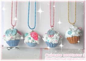 Cupcake Necklaces 3 by Fluffntuff