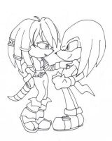 Julie-Su and Knuckles lineart by Junka-speed