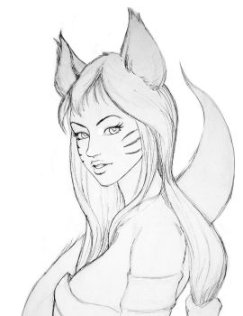 Ahri linart so you can paint with me =p by JesusAConde