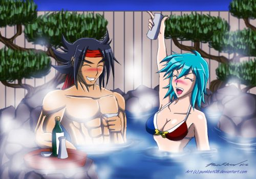 Commission - Domon and Allenby at the Hot Spring by punkbot08