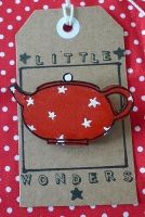 Red Teapot Brooch with White Stars by LittleWondersShop