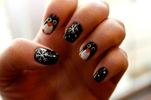 Penguin Nail Art by WimskryBee