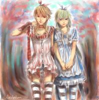 Red Alice and Blue Alice by adelphane