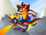 Crash and Spyro by CartoonSilverFox
