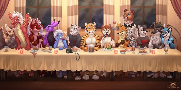 Furry Group Dinner by DolphyDolphiana
