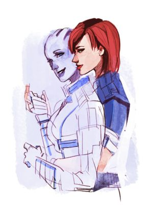 Shepard and Liara by spicyroll
