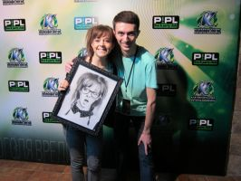 Me and Lindsey Stirling with my drawing ^_^ by SergeyAkimov
