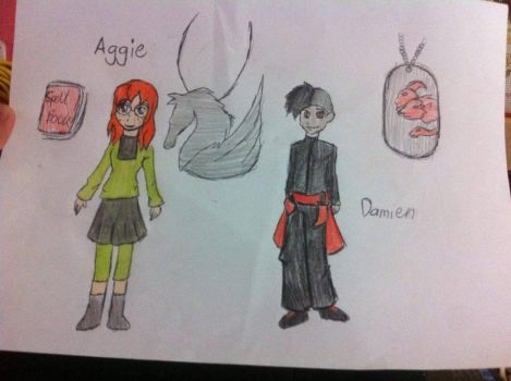 JW: Aggie Griffin/Kingbird and Damien Rouge by Dinodragongirl