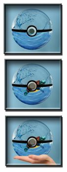 water bubble pokeball with Squirtle by MadamLuck