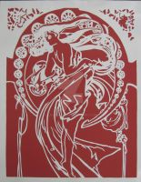 Mucha - Dance Paper Cut by Lavinark