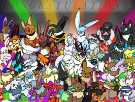 Eevee Party 3 Congratulations  Eevee Group Pic! by ArionArts