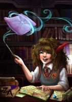Reading: Hogwarts Library by ZLynn