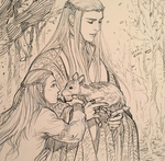 Thranduil, Legolas and a deer by evankart