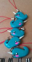 Stacked Narwhal with Mustache Charms by Gynecology