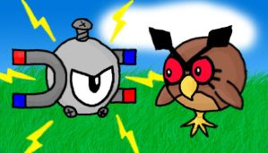 Magnemite VS Hoothoot by Idze