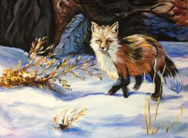 fox in winter painting by Azupaula