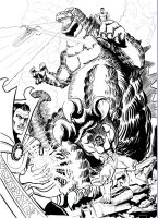 Defenders vs Godzilla (Lineart) by sirandal