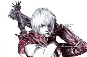 Dante DMC3 pen drawing incomplete version by HoshisamaValmor