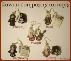 Kawaii Composers Earrings by Bojo-Bijoux