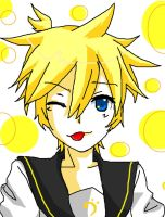 Len winking coloured :L by ILenrequestsomeshota