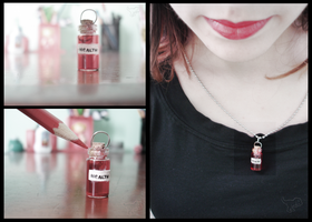 Mini health potion necklace by LadyScoora