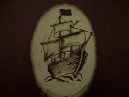 Sail Ship on Wood by fletchstag