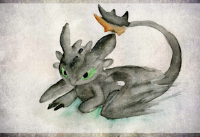 Toothless -Water colour- by OxAmy