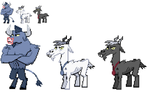 Ponymon sprites : Ironwill and Goats by DMN666