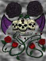 Skulls and roses 2 by Sqwerly-Wrath
