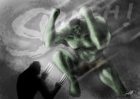 Hulk vs Wolverine by purplecastillo