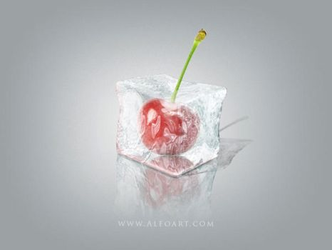 Ice Cube with cherry inside. 3D effect. by AlexandraF