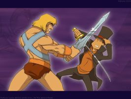 Layton vs. He-Man by zillabean