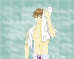 Hiyoshi just out of the shower by Animeket