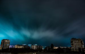 Lightning clouds above the city by baddido