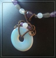 Opalite, amethyst, and labradorite necklace by BacktoEarthCreations