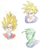 DBZ Characters: Gohan, Goten, and Piccolo by ninetailz3000