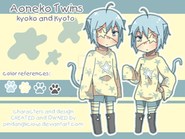 new oc: aoneko twins by pindanglicious