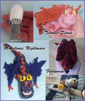 My last crochet dragons! by HiccToothFan