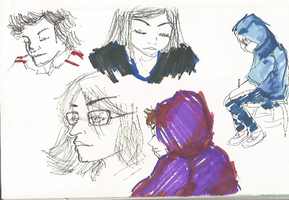 Classmates face poses  use right hand by Reneeglanville