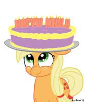 Applejack with Cake by Art-Anon