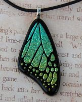 Yellow Green Mix Glass Wing by FusedElegance