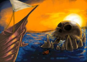 Skull Isle At Sunset WIP by FATRATKING