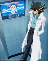 Dr. Yusei and Officer Crow by Mey-chian