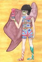Art GCSE Egytian style 1 girl 3 cultures by Misha-chan-703