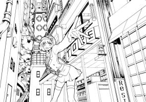 [Line Art]Practice Drawing BG with Perspective by hiruna454