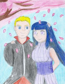 Naruto and Hinata. Together in spring by MegaJLan